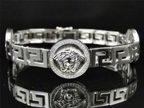 White Gold Finish Genuine Diamond Round Medusa Head Jesus Bracelet Bangle 1.5 C