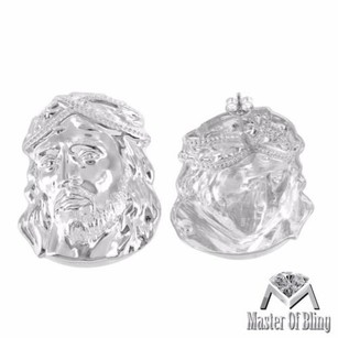 White Gold Finish Jesus Earrings 925 Sterling Silver Mens Mm Vintage