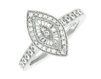 White Gold Finish Over Sterling Silver Marquise Milgrain Real Diamond Ring .15ct