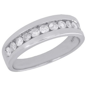 925 Sterling Silver With White Gold Finishing Mens Diamond Wedding Band Round Cut Engagement Ring 0.75 Ct.