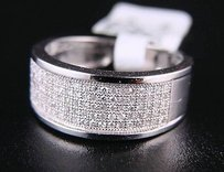 8 Mm White Gold 5 Row Wedding Band Diamond Ring .50 Ct