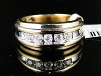 14k Mens Two Tone Gold Diamond Wedding Band Ring 0.50ct