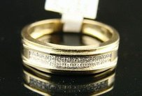 10k Mens 5 Mm Yellow Gold Wedding Band Diamond Ring