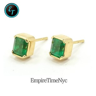 Other Women 18k Stud Gold Earrings Aprx 3ct Stone Green Emerald X17mm