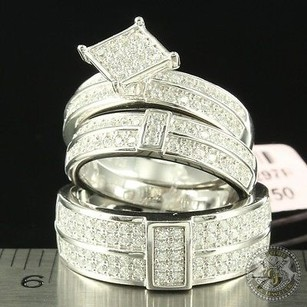 Women Men Bride Groom Trio Rings Engagement Party Bands Micro Pave Silver Cz
