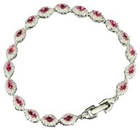 Womens 14k White Gold Finish Over Silver Pink Lab Diamond Solitaire Bracelet