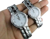 Other Womens And Mens White Aqua Master Genuine Diamond Watch Set