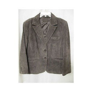 Womens Brown Suede Leather Blazer Coat Jacket