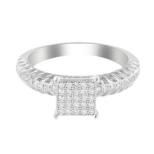 Womens Rope Band Gold Finish Over .925 Silver Lab Diamond Pave Bridal Party Ring