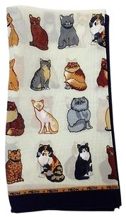 Womens Scarf With Multi Cat Design And Black Border With Meow Trim