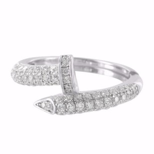 Womens Sterling Silver Lab Diamond Spiral Nail Cocktail Ring Iced Band In White