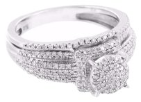 Other Womens Wedding Ring Engagement Band Set Genuine Diamonds Sterling Silver 925
