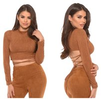 Other Wrap Lace Up Laceup Suede Crop Camel Rust Sweater