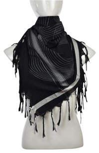 Leigh Luca Womens Black Printed Scarf One Cotton Causal