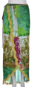 Other Jean Paul Gaultier Maille Womens Green Printed Wrap Nylon Sarong Skirt Multi-Color