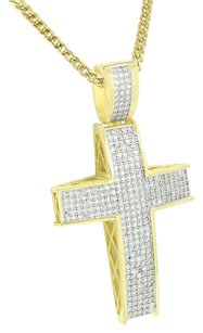 Yellow Gold Finish Cross Pendant Pave Set Simulated Diamonds Franco Chain