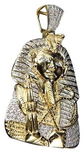 Yellow Gold Finish Egyptian Pharaoh King Tut Real Diamond 1.75 Pendant 13gm