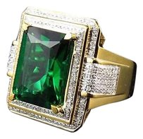 Yellow Gold Finish Royal Emerald Cut Created Emerald Genuine Diamond Ring 0.50ct