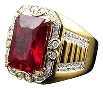 Yellow Gold Finish Royal Emerald Cut Created Ruby Genuine Diamond Ring 0.50ct.
