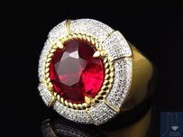Yellow Gold Finish Royal Round Red Gemstone Real Diamonds Statement Ring 0.45ct.