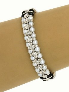 Other Zancar 18k White Gold .65ctw Diamond Pearls Onyx Beaded Designers Bracelet