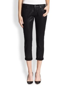 Paige Denim Coated Cropped Boyfriend Cut Jeans-Coated