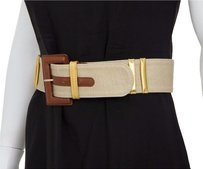 Paloma Picasso Paloma Picasso Vintage Brown Beige Canvas Leather Fabric Buckle Waist Belt Sm