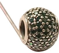 PANDORA Dark Green Pave Lights Sterling Silver Charm By Pandora
