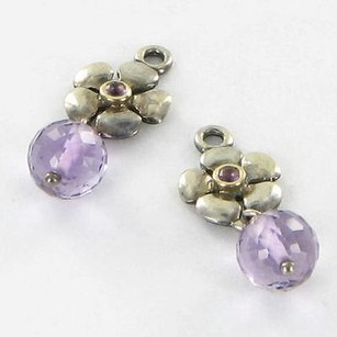 PANDORA Pandora 290620am Earrings Flower Compose Amethyst 14k Yg 925 Retired