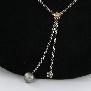 PANDORA Pandora 39213dp45 Flower Necklace 0.03cts Diamond Grey Pearl 14k Y Gold 925