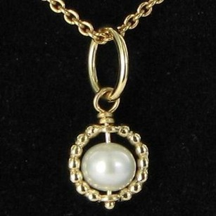 PANDORA Pandora 550110-45 350134p Pearl Pendant Necklace 14k Y Gold Retired