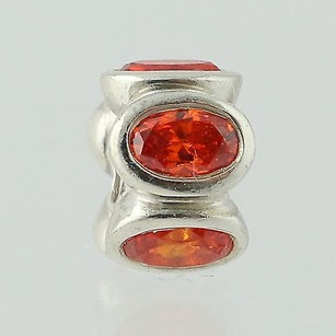 PANDORA Pandora Bead Charm - Sterling Silver 790311 Oval Lights Orange Cz Retired