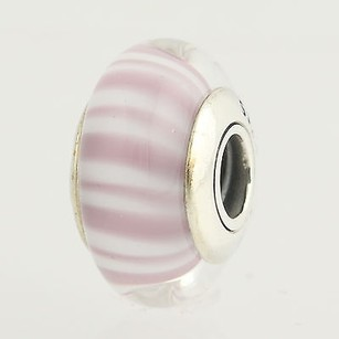 PANDORA Pandora Charm - Sterling Murano Glass 790681 Lavender Candy Stripes Retired