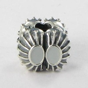 PANDORA Pandora Clip Bead 790578en26 Two Of A Kind Grey Enamel Sterling Silver