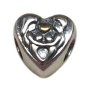 PANDORA Pandora heart of the family 2 tone 14kt charm in original gift pouch
