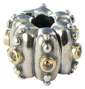 PANDORA Pandora Clip Bead 790853czs Fusion Brown Cz 925 14k Y Gold Retired