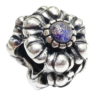PANDORA Sterling Silver Flower Charm With Blue Stones