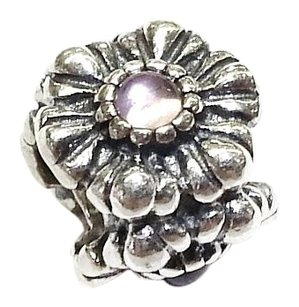 PANDORA Sterling Silver Flower Charm With Stones