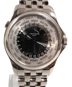 Patek Philippe Auth PATEK PHILIPPE 18K White Gold World Time Watch Mens Automatic