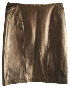 Peruvian Connection Leather Skirt Gold