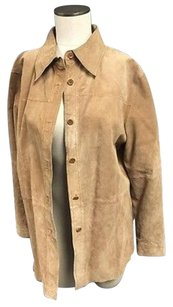 Peter Nygard Nygard Collection Women Long Sleeve Leather Suede Button 5262a Tan Jacket