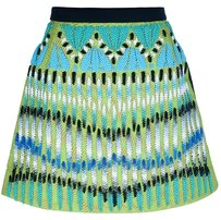 Peter Pilotto Embroidered Beaded A-line Mini Skirt Green