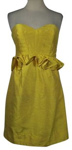 Phoebe Couture Womens Sheath Strapless Above Knee Silk Dress
