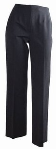 Piazza Sempione Charcoal Stretch Wool Flat Front Cropped Career Pants