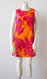 Piazza Sempione short dress Multi-Color Red Orange Cotton Blend Floral Shift Hs1720 on Tradesy