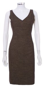 Piazza Sempione Wool Sleeveless V-neck Shift Italian Dress