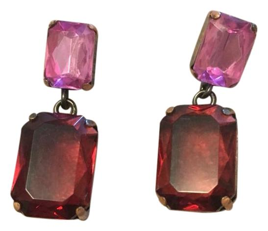 Pink and red emerald cut errings