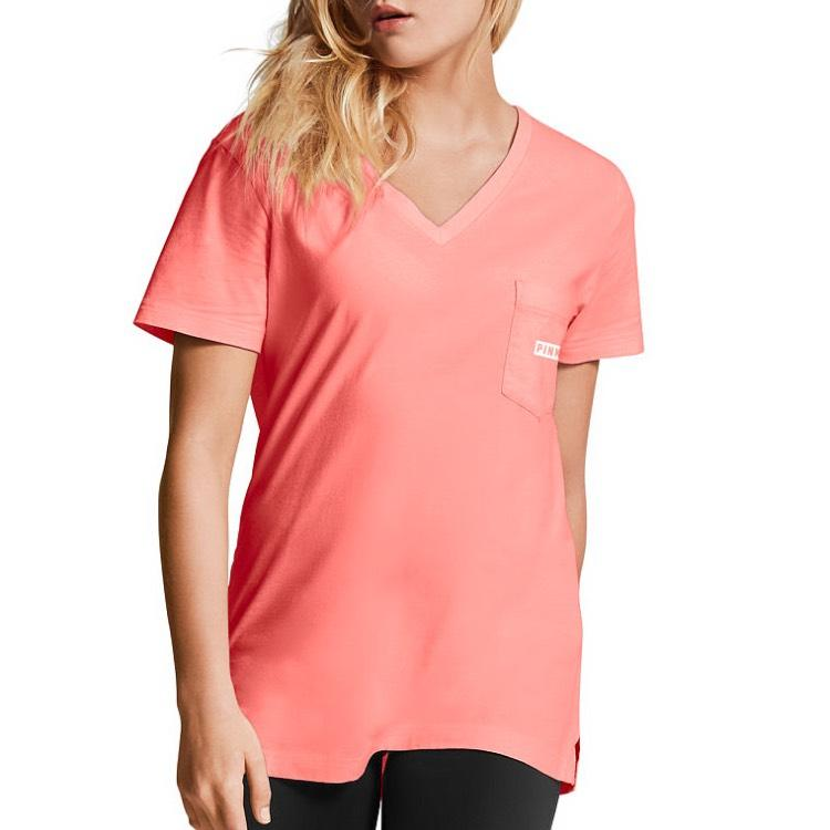 PINK Victoria's Secret Campus Pocket New T Shirt Neon