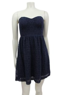 Pins and Needles short dress Navy Blue Crochet Strapless Urban Outfitters Navy on Tradesy