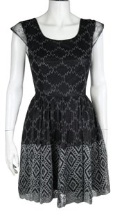 Pins and Needles Womens Embroidered Metallic 0 Above Knee Sheath Dress